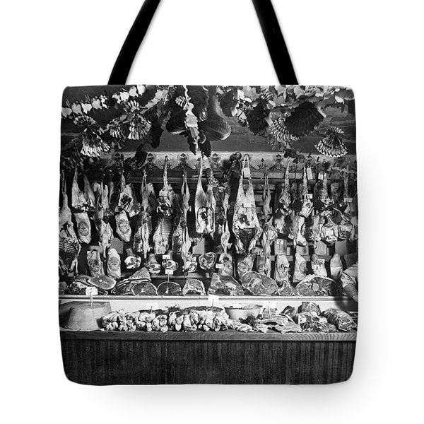 Early Butcher Shop Tote Bag by Underwood Archives