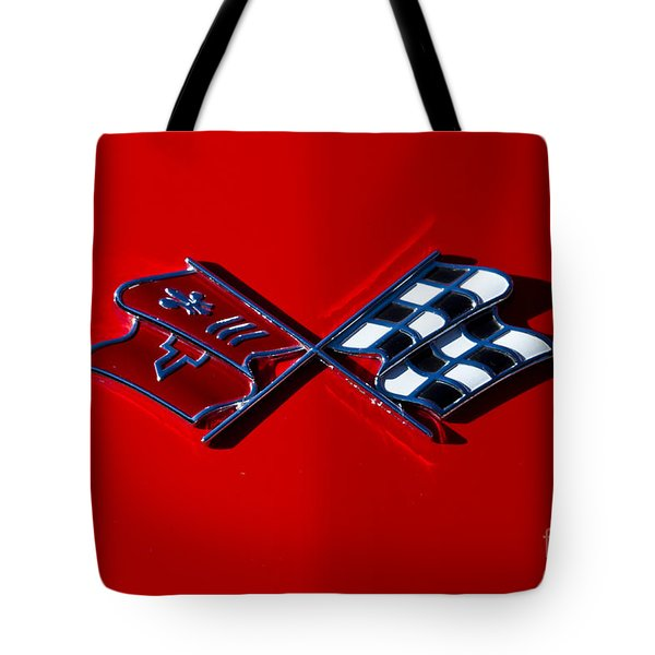 Early C3 Corvette Emblem Red Tote Bag