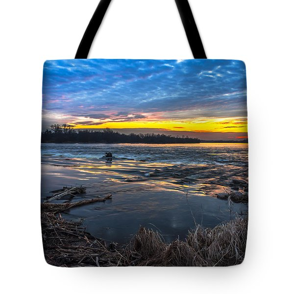 Tote Bag featuring the digital art Early March Sunset Over Narew River In Poland by Julis Simo