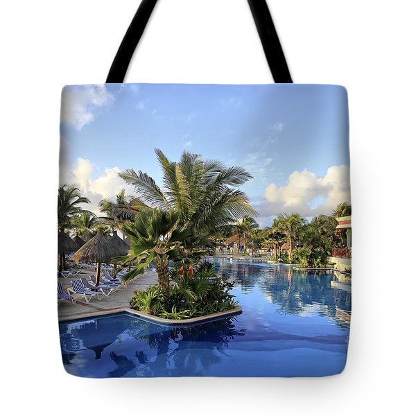 Early Morning At The Pool Tote Bag by Teresa Zieba