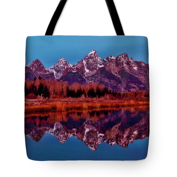 Tote Bag featuring the photograph Early Morning At The Tetons by Benjamin Yeager