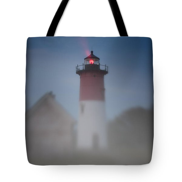 Early Morning Fog At Nauset Lighthouse Tote Bag