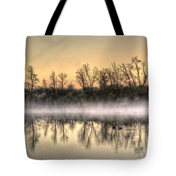 Tote Bag featuring the photograph Early Morning Mist by Lynn Geoffroy