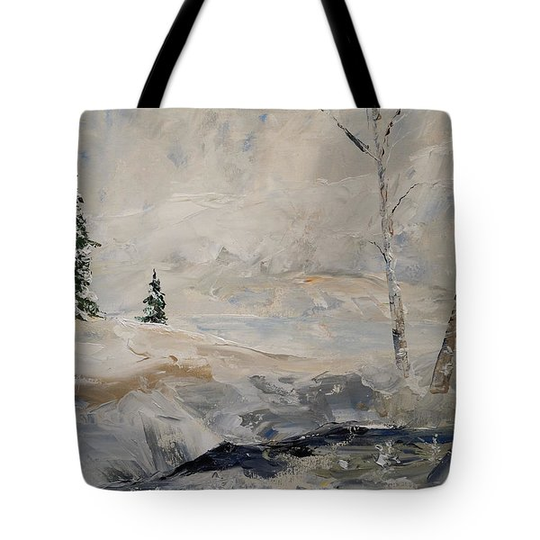 Tote Bag featuring the painting Early Snow by Alan Lakin