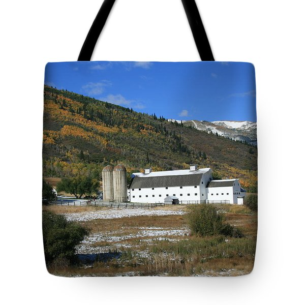 Early Snow At The Farm Tote Bag