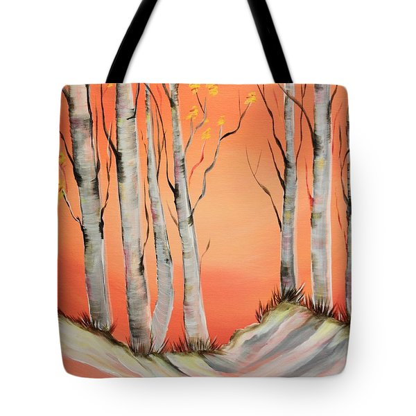 Tote Bag featuring the painting Early Winter Aspen by Janice Rae Pariza