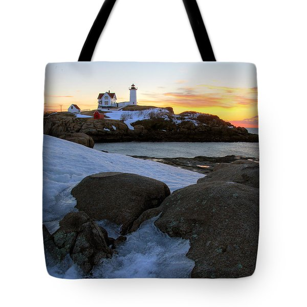Early Winter Morning At Cape Neddick Lighthouse Tote Bag by Brett Pelletier