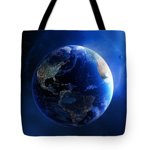 Earth And Galaxy With City Lights Tote Bag