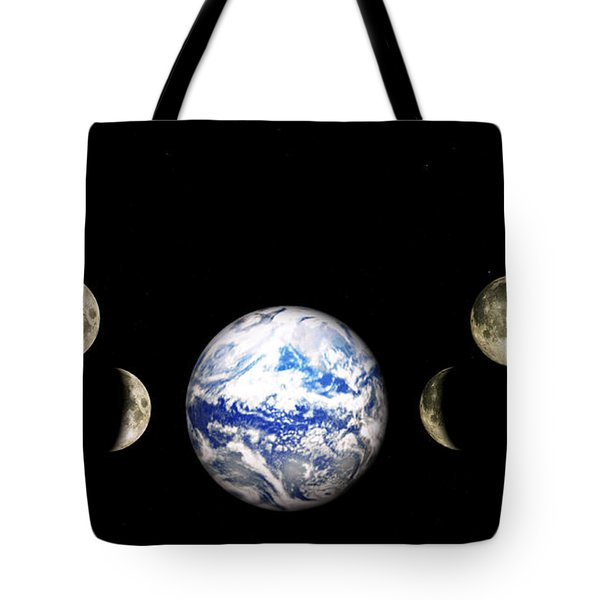 Earth And Phases Of The Moon Tote Bag