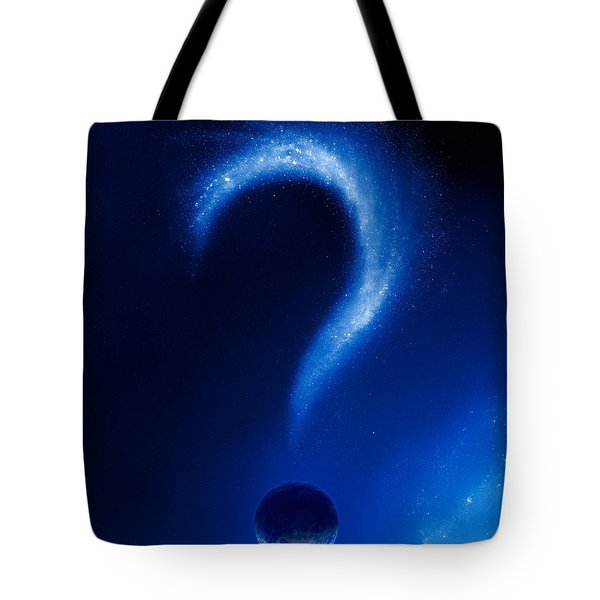 Earth And Question Mark From Stars Tote Bag