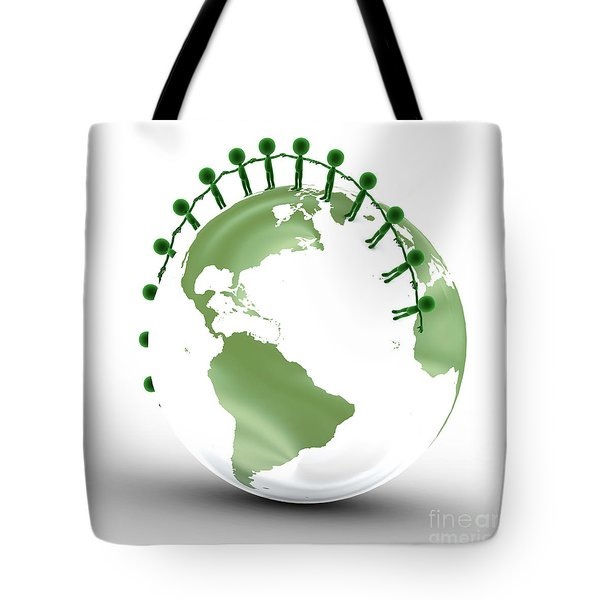 Earth Globe And Conceptual People Together Tote Bag by Michal Bednarek