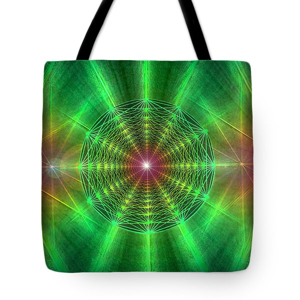 Tote Bag featuring the drawing Earth Grid Six by Derek Gedney