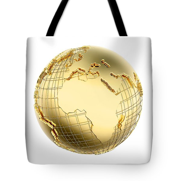 Earth In Gold Metal Isolated - Africa Tote Bag