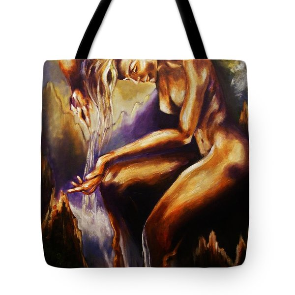 Tote Bag featuring the painting Earth Mother - Water by Karen  Ferrand Carroll