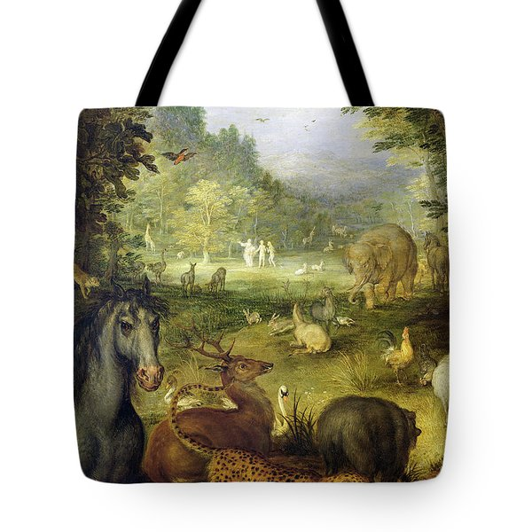 Earth, Or The Earthly Paradise, Detail Of Animals Tote Bag