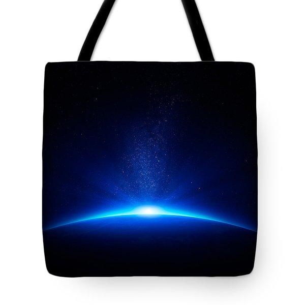 Earth Sunrise In Space Tote Bag