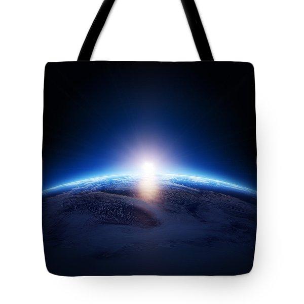 Earth Sunrise Over Cloudy Ocean  Tote Bag