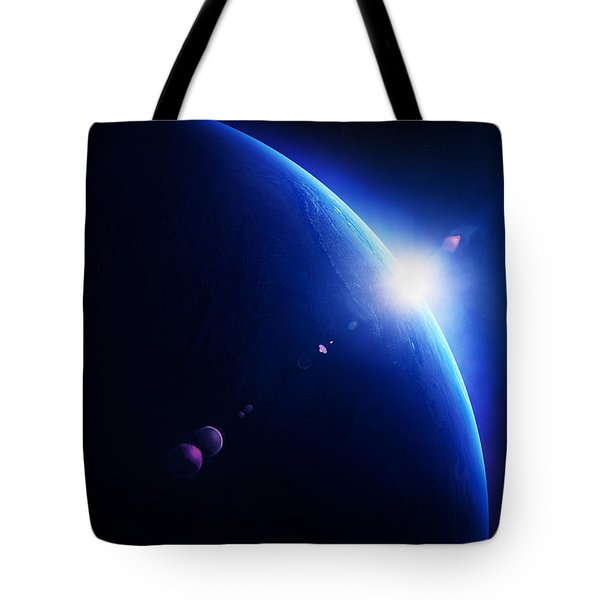Earth Sunrise With Moon In Space Tote Bag