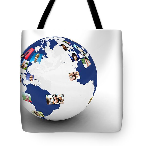 Earth With People Photos In Network Tote Bag by Michal Bednarek