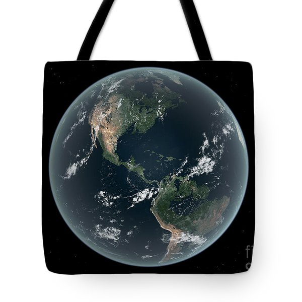 Earths Western Hemisphere With Rise Tote Bag by Walter Myers