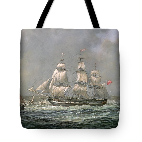 East Indiaman Hcs Thomas Coutts Off The Needles     Isle Of Wight Tote Bag by Richard Willis