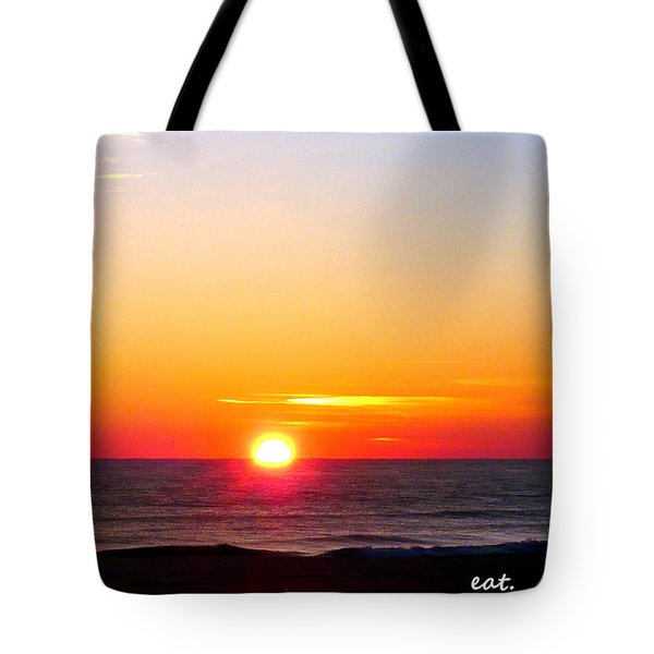 East. Sleep. Beach Sunrise Tote Bag