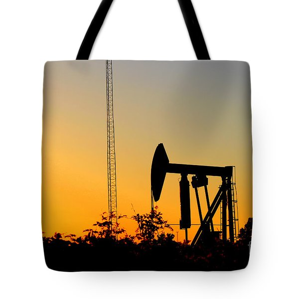 East Texas Pumpjack At Sunset Tote Bag by Kathy  White