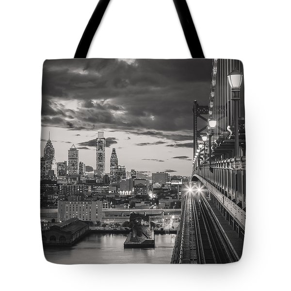 Eastbound Encounter In Black And White Tote Bag
