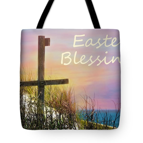 Easter Blessings Cross Tote Bag