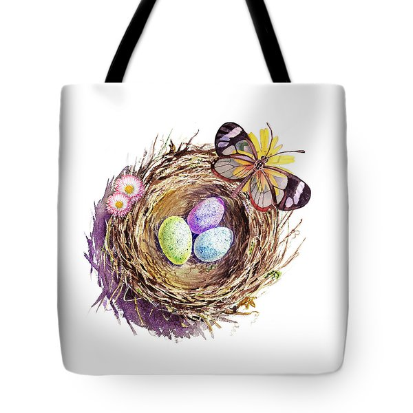 Easter Colors Bird Nest Tote Bag by Irina Sztukowski