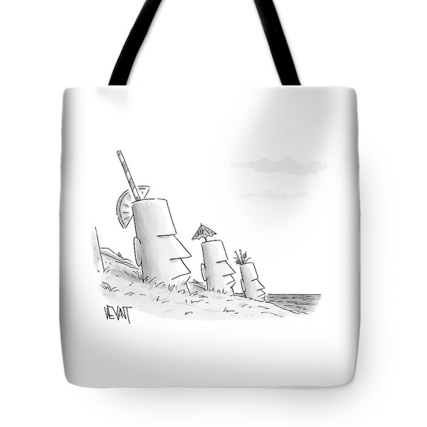 Easter Island Statues Have Straws And Umbrellas Tote Bag