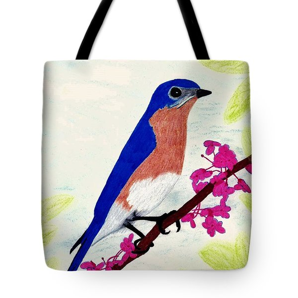 Tote Bag featuring the drawing Florida - Eastern - Blue Bird by D Hackett