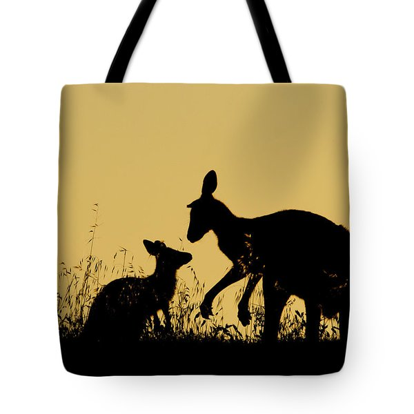 Eastern Grey Kangaroo And Joey Mount Tote Bag