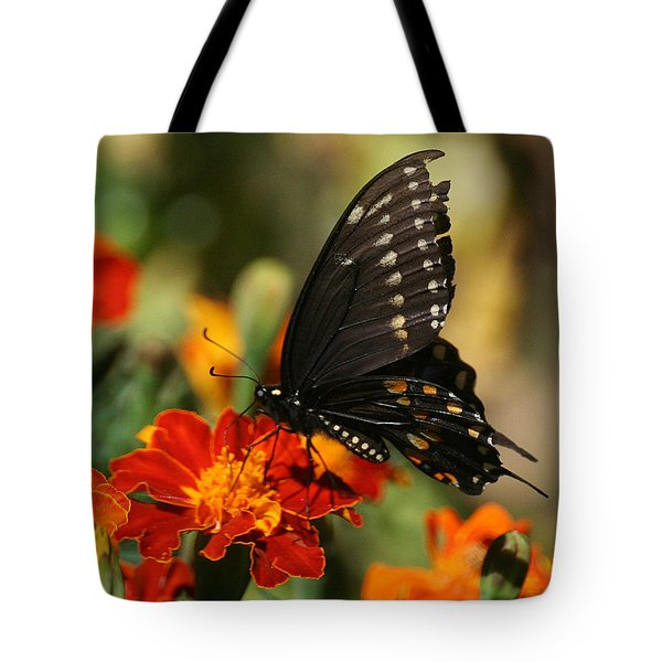 Eastern Swallowtail On Marigold Tote Bag