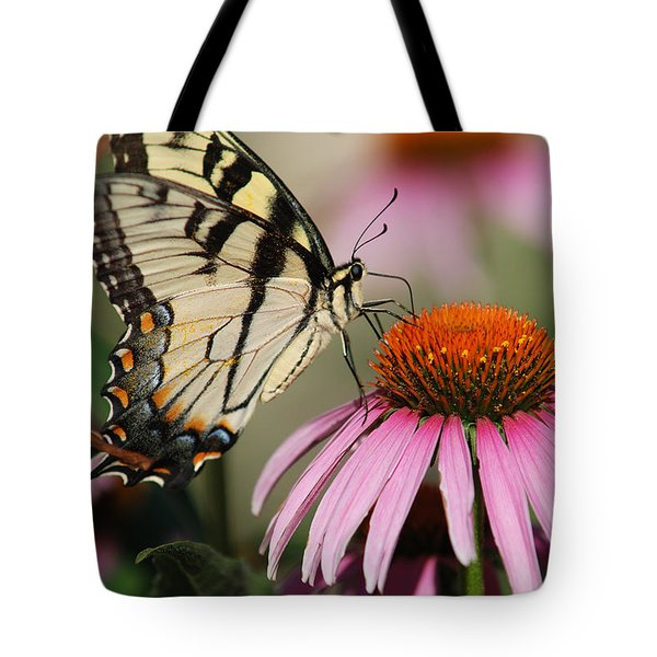 Swallowtail And Coneflower Tote Bag by Janice Adomeit
