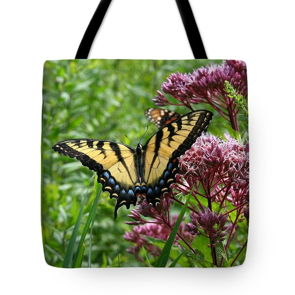 Eastern Tiger Swallowtail On Joe Pye Weed Tote Bag by Neal Eslinger