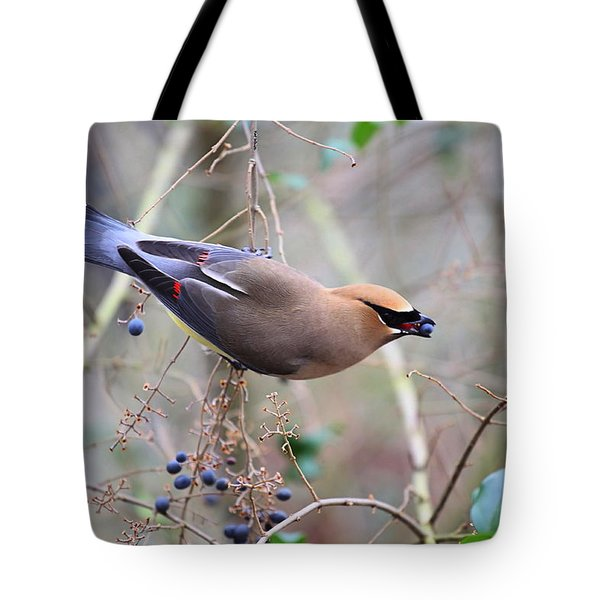 Eating Berries Tote Bag