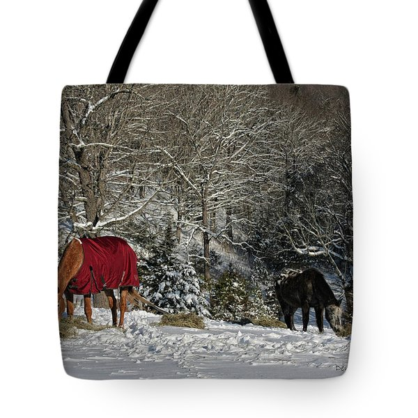 Eating Hay In The Snow Tote Bag by Denise Romano