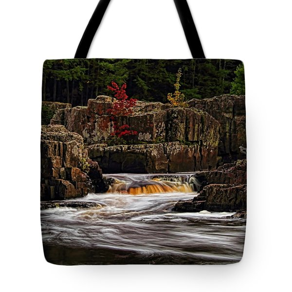 Waterfall Under Colored Leaves Tote Bag
