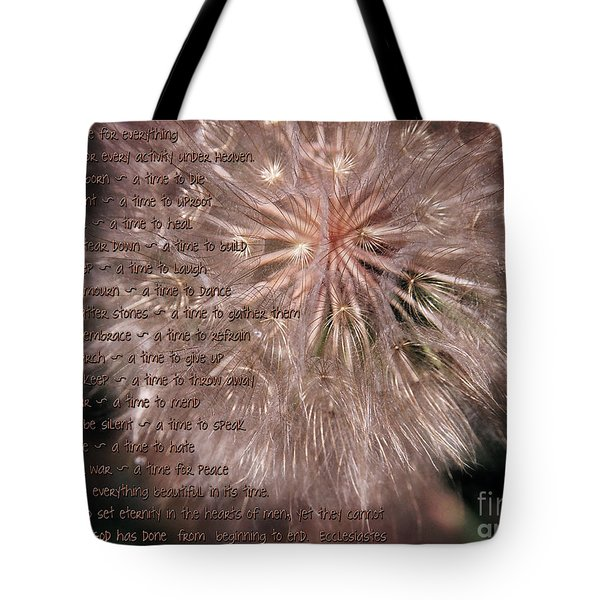 Ecclesiastes Seasons Tote Bag by Constance Woods