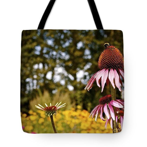 Echinacea With Bee Tote Bag by Linda Bianic