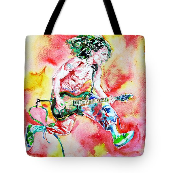 Eddie Van Halen Playing And Jumping Watercolor Portrait Tote Bag by Fabrizio Cassetta