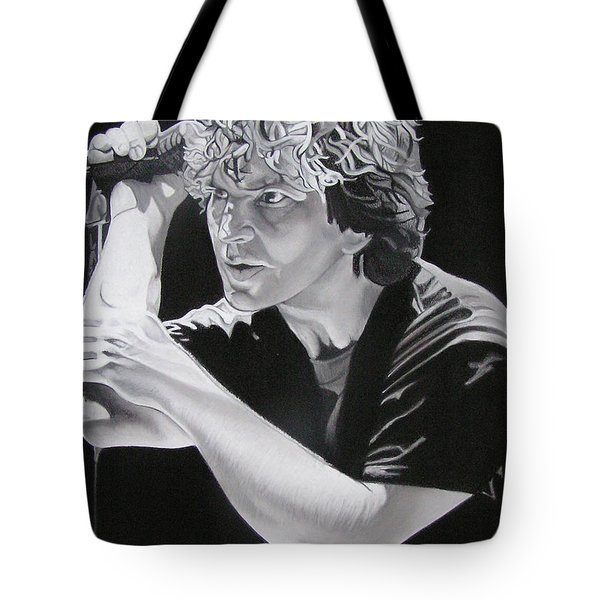 Eddie Vedder Black And White Tote Bag by Joshua Morton