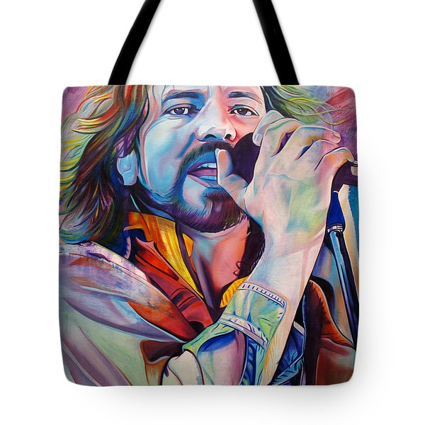 Eddie Vedder In Pink And Blue Tote Bag by Joshua Morton