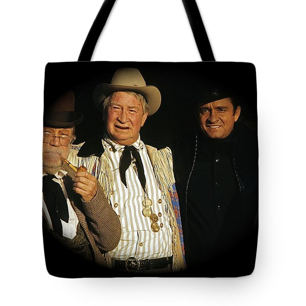 Tote Bag featuring the photograph Edgar Buchanan Chills Wills  Johnny Cash Porch Old Tucson Arizona 1971-2008 by David Lee Guss