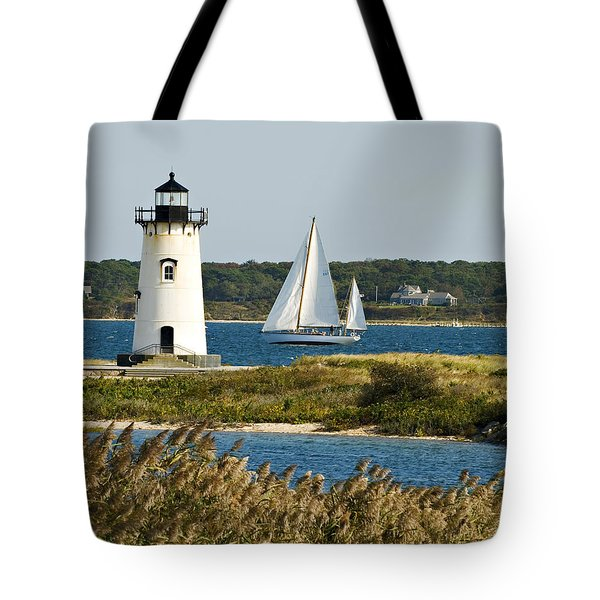 Edgartown Light At Martha's Vineyard Tote Bag