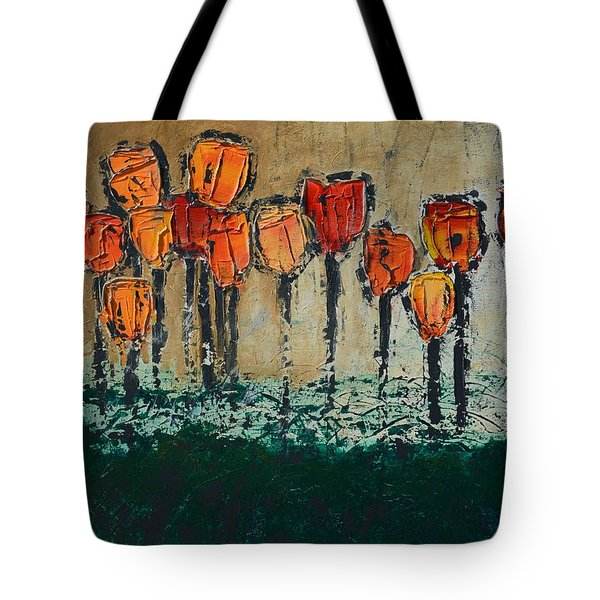 Edgey Tulips Tote Bag by Linda Bailey