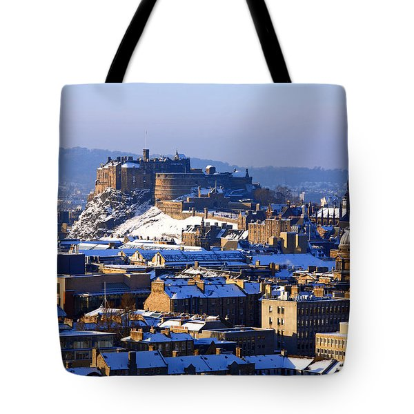 Tote Bag featuring the photograph Edinburgh Castle Winter by Craig B