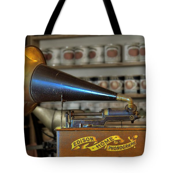 Edison Home Phonograph With Morning Glory Horn Tote Bag by Christine Till