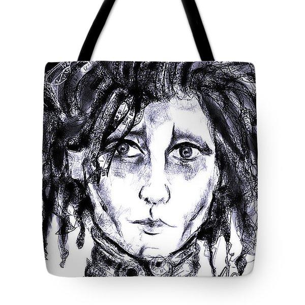 Edward Scissorhands Phone Sketch Tote Bag